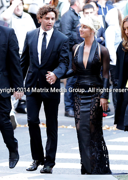 27 APRIL 2014 SYDNEY AUSTRALIA<br /> <br /> NON EXCLUSIVE PICTURES - PREMIUM RATES APPLY<br /> <br /> 56TH ANNUAL TV WEEK LOGIE AWARDS 2014<br /> <br /> Newlywed and Logie winner Asher Keddie and her husband Vincent Fantauzzo arrive at the red carpet hand in hand.<br /> <br /> *No web/digital use without clearance*<br /> MUST CALL PRIOR TO USE .<br /> +61 2 9211-1088<br /> Matrix Media Group<br /> Note: All editorial images subject to the following: For editorial use only. Additional clearance required for commercial, wireless, internet or promotional use.Images may not be altered or modified. Matrix Media Group makes no representations or warranties regarding names, trademarks or logos appearing in the images.