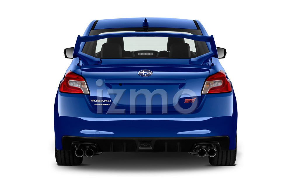 Straight rear view of a 2018 Subaru WRX STI Sport Premium 4 Door Sedan stock images
