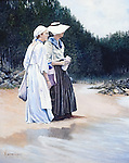 "Maine coast fishermen's wives on the beach watching their husband's fishing boats come over the ocean horizon. Oil on canvas, 20"" x 16""."