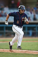 Jack Mayfield (2) of the Lancaster JetHawks runs to first base during a game against the Modesto Nuts at The Hanger on April 25, 2015 in Lancaster, California. Lancaster defeated Modesto, 5-4. (Larry Goren/Four Seam Images)