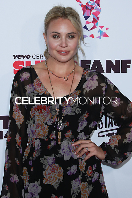 SANTA MONICA, CA, USA - OCTOBER 08: Leah Pipes arrives at the Vevo CERTIFIED SuperFanFest held at Barkar Hangar on October 8, 2014 in Santa Monica, California, United States. (Photo by David Acosta/Celebrity Monitor)