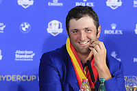 Jon Rahm (Team Europe) at the press conference after Europe win the Ryder Cup 17.5 to 10.5 at the end of Sunday's Singles Matches at the 2018 Ryder Cup 2018, Le Golf National, Ile-de-France, France. 30/09/2018.<br /> Picture Eoin Clarke / Golffile.ie<br /> <br /> All photo usage must carry mandatory copyright credit (&copy; Golffile | Eoin Clarke)