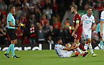 Jordan Henderson of Liverpool is booked during the Champions League playoff round at the Anfield Stadium, Liverpool. Picture date 23rd August 2017. Picture credit should read: Lynne Cameron/Sportimage