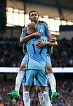 Gabriel Jesus of Manchester City celebrates his goal with Kevin De Bruyne of Manchester City during the English Premier League match at the Etihad Stadium, Manchester. Picture date: May 16th 2017. Pic credit should read: Simon Bellis/Sportimage