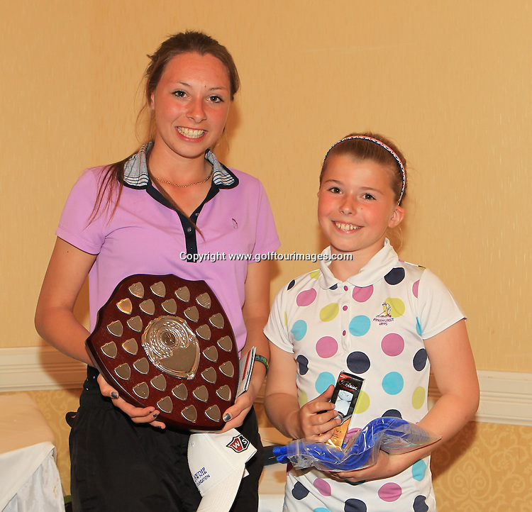 Alexandra Duffy (l) won the Paul Lawrie Foundation Salver and runner up was Anna McKay. The event was played as part of The Paul Lawrie Foundation Scottish Schools Golf Championships played at Murrayshall House Hotel and Golf Courses on 10th June 2013: Picture Stuart Adams www.golftourimages.com: 10th June 2013