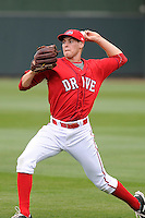 Pitcher Jake Drehoff (29) of the Greenville Drive during a Media Day first workout of the season on Tuesday, April 7, 2015, at Fluor Field at the West End in Greenville, South Carolina. (Tom Priddy/Four Seam Images)