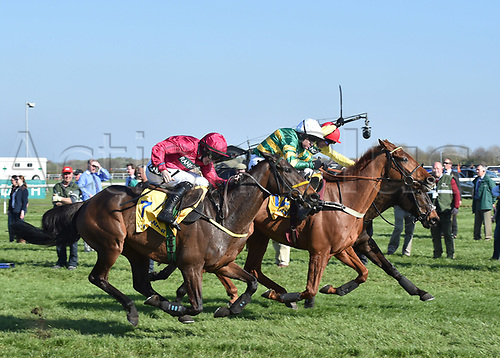 April 8th 2017, Aintree Racecourse, Liverpool, England; Randox Health Grand National Festival Horse racing, Grand National Day; Winner Yanworth ridden by Barry Geraghty edges into the lead on the second lap of the Ryanair Stayers Liverpool Hurdle