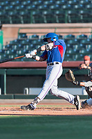 AZL Rangers center fielder Ryan Anderson (6) hits a triple to left-center field during an Arizona League game against the AZL Giants Black at Scottsdale Stadium on August 4, 2018 in Scottsdale, Arizona. The AZL Giants Black defeated the AZL Rangers by a score of 3-2 in the first game of a doubleheader. (Zachary Lucy/Four Seam Images)