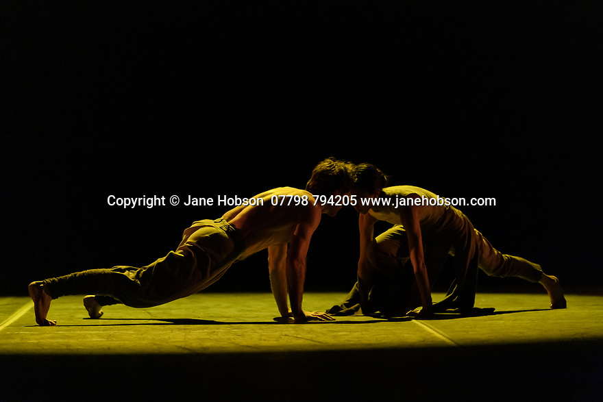 """London, UK. 26.01.2020. Dancers rehearse for the Ballet Icons Gala 2020, at the London Coliseum. Picture shows: Erina Takahashi and James Streeter, in Akram Khan's """"Dust"""". Photograph © Jane Hobson."""