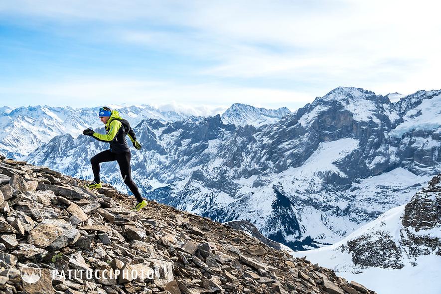 Ueli Steck winter trail running in the Swiss Alps above Grindelwald, Switzerland