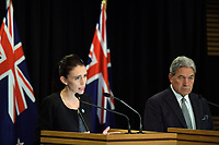 Prime Minister of New Zealand Jacinda Ardern (left) and Deputy Prime Minister Winston Peters. Post Cabinet media press conference at Parliament in Wellington, New Zealand on Monday, 18 March 2019. Photo: Dave Lintott / lintottphoto.co.nz