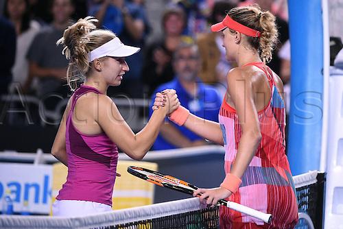 22.01.2016. Melbourne Park, Melbourne, Australia, Australian Open Tennis Championships.  Kristina Mladenovic (FRA) shakes hands with Daria Gavrilova (AUS)