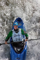 Martin Vollen (Norway). Kayak downhill race in the Brandseth river. The Extremesport Week, Ekstremsportveko, is the worlds largest gathering of adrenalin junkies. In the small town of Voss enthusiasts in a varitety of extreme sports come togheter every summer to compete and play. Norway.  ©Fredrik Naumann/Felix Features.