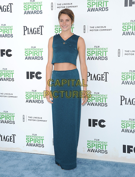 SANTA MONICA, CA, MARCH 01: Shailene Woodley at The 2014 Film Independent Spirit Awards held at Santa Monica Beach in Santa Monica, California, USA on March 1st, 2014.                                                                              <br /> CAP/DVS<br /> &copy;Debbie VanStory/Capital Pictures