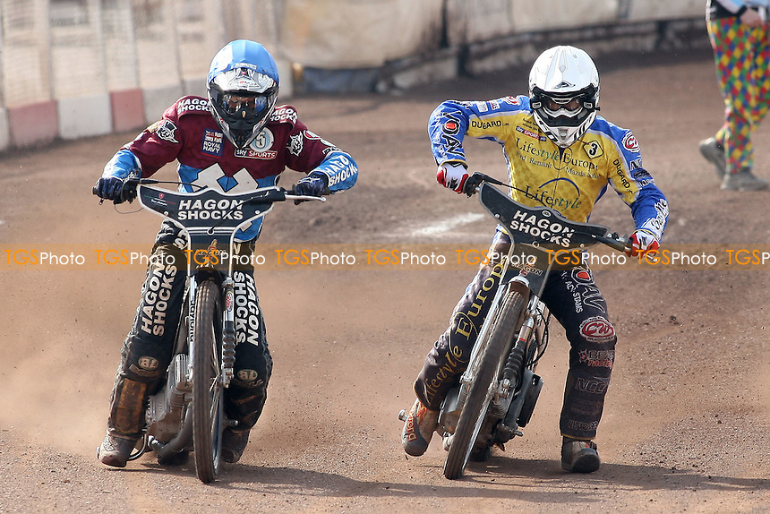 Heat 15: Lee Richardson (blue) and Lewis Bridger - Lakeside Hammers vs Eastbourne Eagles - Sky Sports Elite League Speedway at Arena Essex Raceway, Purfleet - 06/04/12 - MANDATORY CREDIT: Gavin Ellis/TGSPHOTO - Self billing applies where appropriate - 0845 094 6026 - contact@tgsphoto.co.uk - NO UNPAID USE.