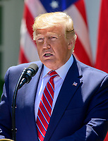 United States President Donald J. Trump answers reporter's questions as he and President Andrzej Duda of the Republic of Poland, conduct a joint press conference in the Rose Garden of the White House in Washington, DC on Wednesday, June 12, 2019. <br /> Credit: Ron Sachs / CNP/AdMedia