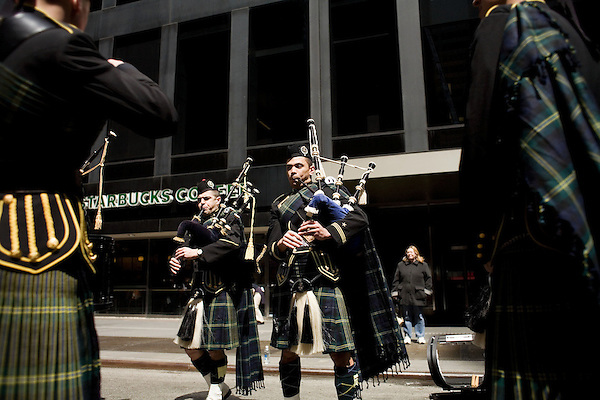 Saturday, April 14,  2007, New York, New York.. The 9th annual Tartan Day Parade was held today on 6th Avenue between 44th and 58th Streets.. Thousands turned out to play the drums, pipes and to view all those dressed for the occasion.. Members of the US Naval Academy Pipes and Drums practice their routine before the start of the parade.
