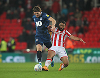 Blackburn Rovers Sam Gallagher   in action with Stoke City's Cameron Carter-Vickers <br /> <br /> Photographer Mick Walker/CameraSport<br /> <br /> The EFL Sky Bet Championship - Stoke City v Blackburn Rovers - Saturday 30th November 2019 - bet365 Stadium - Stoke-on-Trent<br /> <br /> World Copyright © 2019 CameraSport. All rights reserved. 43 Linden Ave. Countesthorpe. Leicester. England. LE8 5PG - Tel: +44 (0) 116 277 4147 - admin@camerasport.com - www.camerasport.com