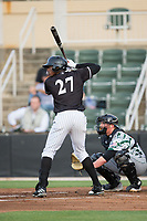Micker Aldofo (27) of the Kannapolis Intimidators at bat against the Augusta GreenJackets at Kannapolis Intimidators Stadium on May 3, 2017 in Kannapolis, North Carolina.  The Intimidators defeated the GreenJackets 7-4.  (Brian Westerholt/Four Seam Images)