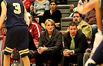 June Daugherty, in her second year as Head Coach at Washington State, watches the action during the Cougars game against Montana State in Pullman, Washington, on November 23, 2008.  The Cougars prevailed in the contest, 78-66.