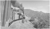 Passenger view from coach of K-28 #476 climbing Barranca Hill with mixed Chili Line train.<br /> D&amp;RGW  Barranca Hill, NM  Taken by Lunoe, Bob - 8/26/1941