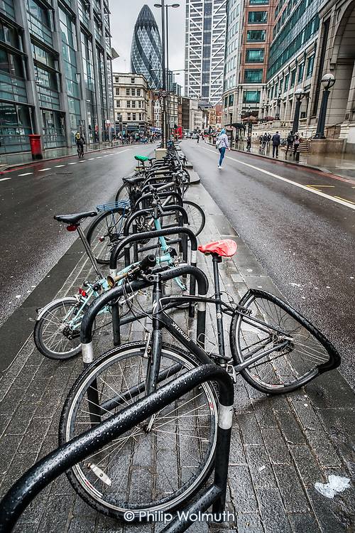 Crushed bicycle, Bishopsgate, London.
