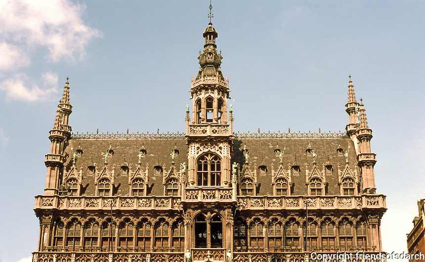 Brussels: Grand Place, The King's House--upper storey's elevation.  Photo '87.