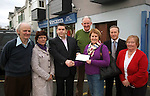 Mr. Tom Randles, President, Killarney Chamber of Tourism & Commerce presents Bridget O'Leary of St. Vincent De Paul, Killarney with a cheque for ?1200 which was collected from members who attended network and charity lunches throughout 2011. St. Vincent De Paul who operate from thier premises in New Street car park was the nominated local charity for this year. Also in picture are from left, Dan Twomey, Patricia Lyne, Michael Buckley, Donnacha Galvin and Mary Clifford..Picture by Don MacMonagle...fre photo from chamber