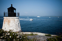 The view from Castle Hill Lighthouse as yachts come and go from Narragansett Bay.