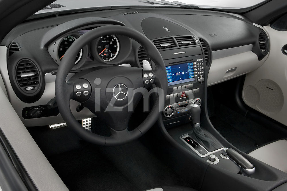 High angle dashboard view of a Mercedes Benz SLK Class sports car