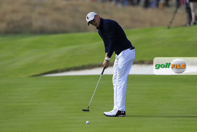 Jordan Spieth Team USA putts on the 18th green during Friday's Fourball Matches at the 2018 Ryder Cup, Le Golf National, Iles-de-France, France. 28/09/2018.<br /> Picture Eoin Clarke / Golffile.ie<br /> <br /> All photo usage must carry mandatory copyright credit (© Golffile | Eoin Clarke)