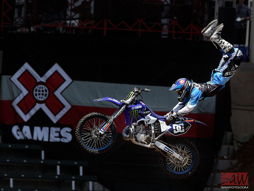 CARSON, CA. JULY 31, 2009: Big air arriving in Los Angeles. Nate Adams, competitor in the 15th annual ESPN X Games during a practice session for Moto X Freestyle competition, Friday July 31, 2009. X Games 15 is at the Staples Center in downtown Los Angeles and at the Home Depot Center in Carson, this weekend.
