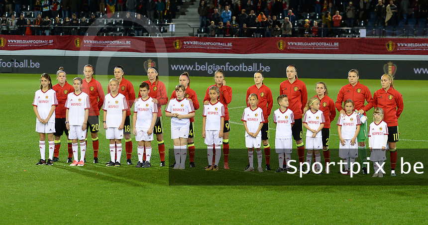 20171020 - LEUVEN , BELGIUM : Belgian line up pictured before the female soccer game between the Belgian Red Flames and Romania , the second game in the qualificaton for the World Championship qualification round in group 6 for France 2019, Friday 20 th October 2017 at OHL Stadion Den Dreef in Leuven , Belgium. PHOTO SPORTPIX.BE | DAVID CATRY