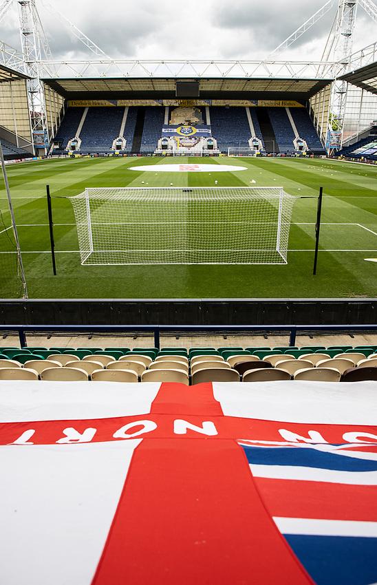 A general view of the Deepdale stadium<br /> <br /> Photographer Andrew Kearns/CameraSport<br /> <br /> The EFL Sky Bet Championship - Preston North End v Nottingham Forest - Saturday 11th July 2020 - Deepdale Stadium - Preston <br /> <br /> World Copyright © 2020 CameraSport. All rights reserved. 43 Linden Ave. Countesthorpe. Leicester. England. LE8 5PG - Tel: +44 (0) 116 277 4147 - admin@camerasport.com - www.camerasport.com