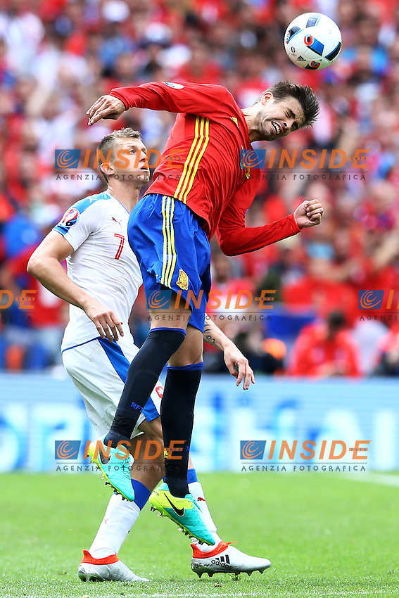 Gerard Pique Spain, Tomas Necid Spain <br /> Toulouse 13-06-2016 Stade de Toulouse Footballl Euro2016 Spain - Czech Republic  / Spagna - Repubblica Ceca Group Stage Group D. Foto Matteo Ciambelli / Insidefoto