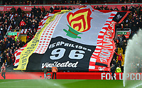 General View of a giant banner honouring the victims of the Hillsborough disaster on its 30th Anniversary<br /> <br /> Photographer Richard Martin-Roberts/CameraSport<br /> <br /> The Premier League - Liverpool v Chelsea - Sunday 14th April 2019 - Anfield - Liverpool<br /> <br /> World Copyright © 2019 CameraSport. All rights reserved. 43 Linden Ave. Countesthorpe. Leicester. England. LE8 5PG - Tel: +44 (0) 116 277 4147 - admin@camerasport.com - www.camerasport.com