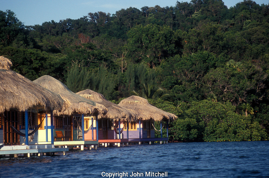 Guest cabins at Mango Creek Lodge on Port Royal Bay,  Roatan, Bay Islands, Honduras
