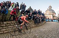 Matteo Trentin (ITA/CCC) up the Kapelmuur / Muur van Geraardsbergen<br /> <br /> 75th Omloop Het Nieuwsblad 2020 (1.UWT)<br /> Gent to Ninove (BEL): 200km<br /> <br /> ©kramon
