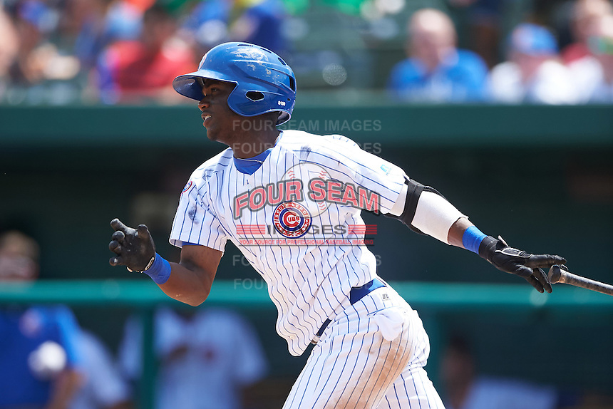 South Bend Cubs shortstop Andruw Monasterio (6) at bat during the first game of a doubleheader against the Peoria Chiefs on July 25, 2016 at Four Winds Field in South Bend, Indiana.  South Bend defeated Peoria 9-8.  (Mike Janes/Four Seam Images)