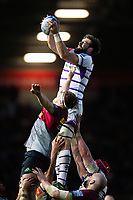 Mike Fitzgerald of Leicester Tigers wins the ball at a lineout. Gallagher Premiership match, between Harlequins and Leicester Tigers on May 3, 2019 at the Twickenham Stoop in London, England. Photo by: Patrick Khachfe / JMP