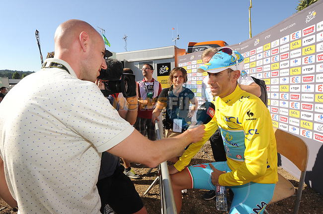 Vincenzo Nibali (ITA) Astana talks to the media after Stage 11 of the 2014 Tour de France running 187.5km from Besancon to Oyonnax. 16th July 2014.<br /> Photo ASO/B.Bade/www.newsfile.ie