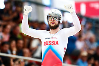 Picture by Alex Whitehead/SWpix.com - 09/12/2017 - Cycling - UCI Track Cycling World Cup Santiago - Velódromo de Peñalolén, Santiago, Chile - Russia's Denis Dmitriev, Shane Alan Perkins and Pavel Yakushevskiy win Gold in the Men's Team Sprint final.