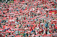 A closeup of Benfica supporters in the stadium during the UEFA Europa League Final between Sevilla FC and SL Benfica at Juventus Arena on May 14, 2014 in Turin, Italy. Photo: Adamo Di Loreto/BuenaVista*photo