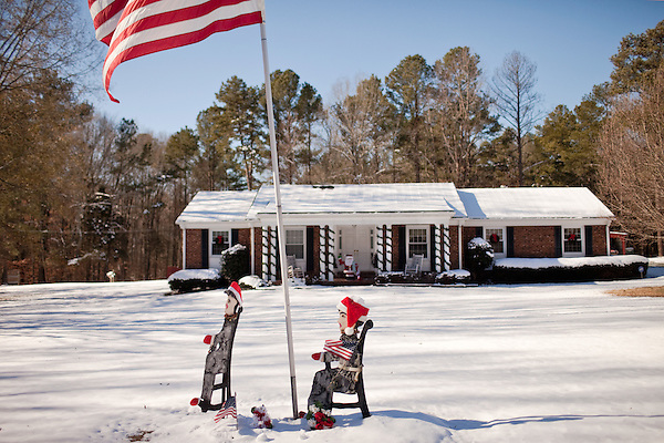 December 28, 2010. Chapel Hill, NC.. A roadside memorial to the troops, Mt. Carmel Church Road, Chapel Hill, NC.