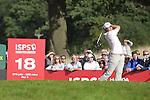 Tournament leader Peter Uihlein drives at the 18th during the 3rd round of ISPS Handa Wales Open 2013 at the Celtic Manor Resort.<br /> <br /> 31.08.13<br /> <br /> ©Steve Pope-Sportingwales