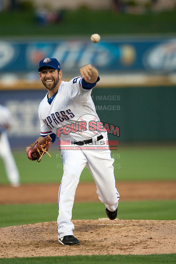 Round Rock Express pitcher Zach Jackson #47 delivers during the Pacific Coast League baseball game against the New Orleans Zephyrs on April 30, 2012 at The Dell Diamond in Round Rock, Texas. The Zephyrs defeated the Express 5-3. (Andrew Woolley / Four Seam Images).