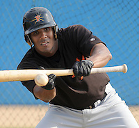 June 20, 2008: Infielder Miguel Abreu (15) of the Frederick Keys, Carolina League affiliate of the Baltimore orioles, prior to a game against the Potomac Nationals at G. Richard Pfitzner Stadium in Woodbridge, Va. Photo by:  Tom Priddy/Four Seam Images