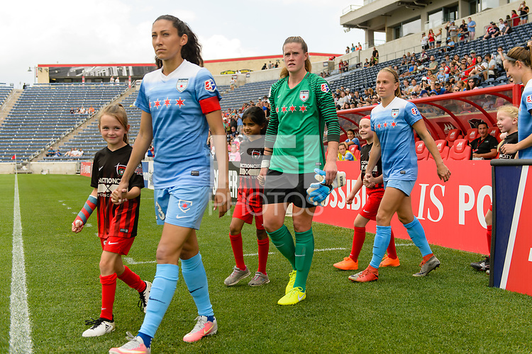Bridgeview, IL - Saturday June 17, 2017: Christen Press, Alyssa Naeher, Alyssa Mautz during a regular season National Women's Soccer League (NWSL) match between the Chicago Red Stars and the Washington Spirit at Toyota Park. The match ended in a 1-1 tie.