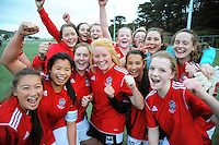 The Sacred Heart team celebrate winning the Wellington girls college football bronze playoff final between Sacred Heart College and Wellington High School at Wakefield Artificial Turf,  Wellington, New Zealand on Wednesday, 21 August 2013. Photo: Dave Lintott / lintottphoto.co.nz