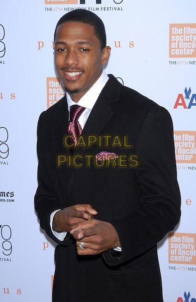 """NICK CANNON .At the 47th Annual New York Film Festival Centerpiece Screening of """"Precious"""" held at Alice Tully Hall, Lincoln Center, New York, NY, USA, October 3rd, 2009. .half length hands gesture pointing black suit maroon tie burgundy goatee facial hair .CAP/LNC/TOM.©LNC/Capital Pictures"""